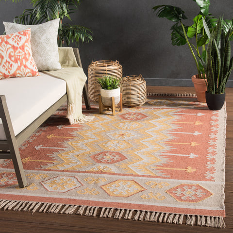 Emmett Indoor/ Outdoor Geometric Orange & Beige Area Rug
