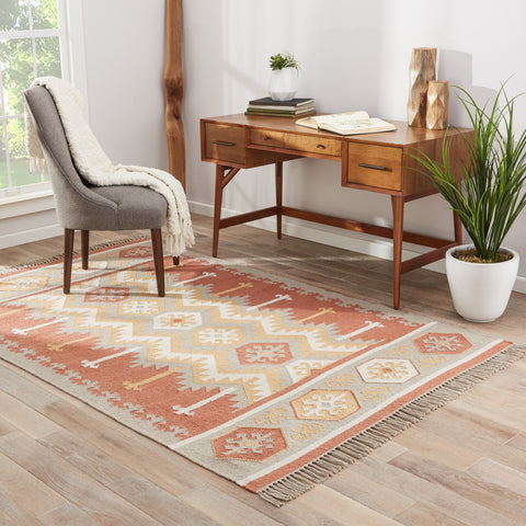 Emmett Geometric Rug in Ash & Auburn design by Jaipur