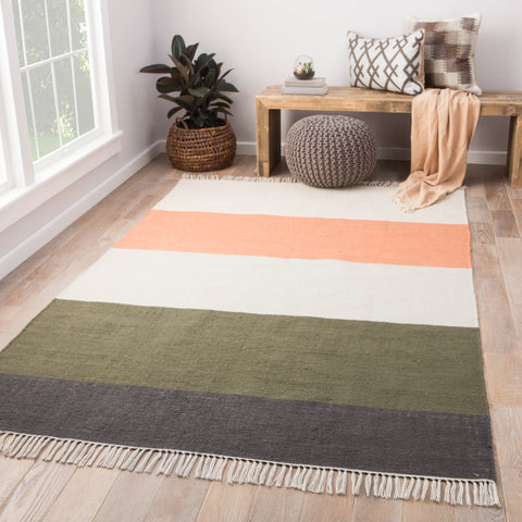 Swane Indoor/ Outdoor Stripe Coral & Green Area Rug
