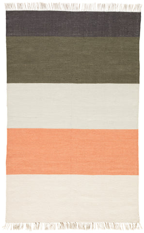 Swane Indoor/ Outdoor Stripe Coral & Green Area Rug design by Jaipur