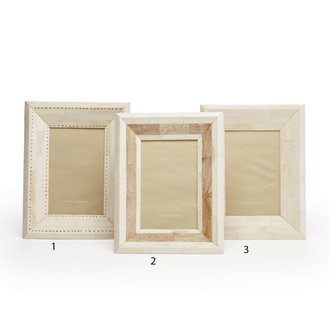 Isla Hand Carved Natural Bone Mosaic Photo Frame in Various Designs design by Tozai