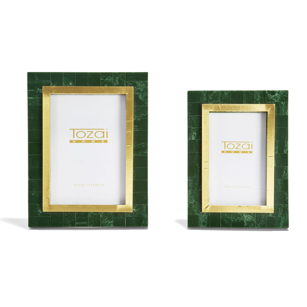 Aventurine Green and Gold Photo Frames, Set of 2