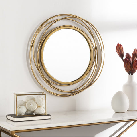 Dixie DII-003 Round Mirror in Gold by Surya