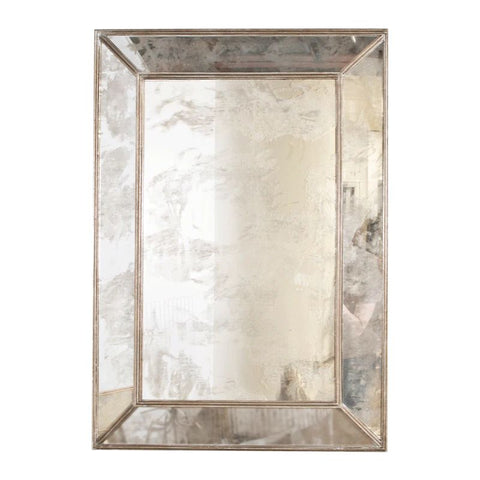 Dion Rectangular Antique Mirror w/ Silver Leafed Wood Edges design by BD Studio