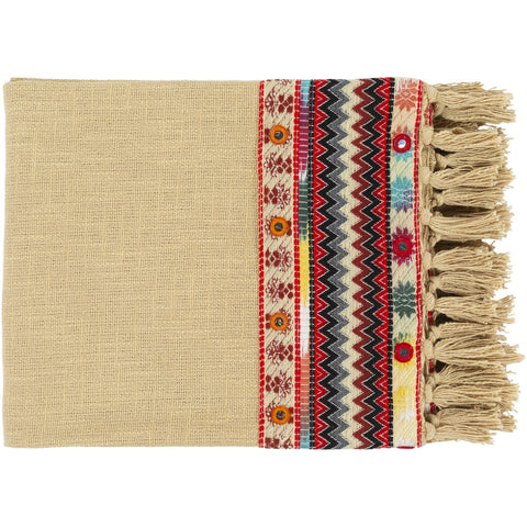 Ardi DIR-1000 Knitted Throw in Wheat & Bright Red by Surya