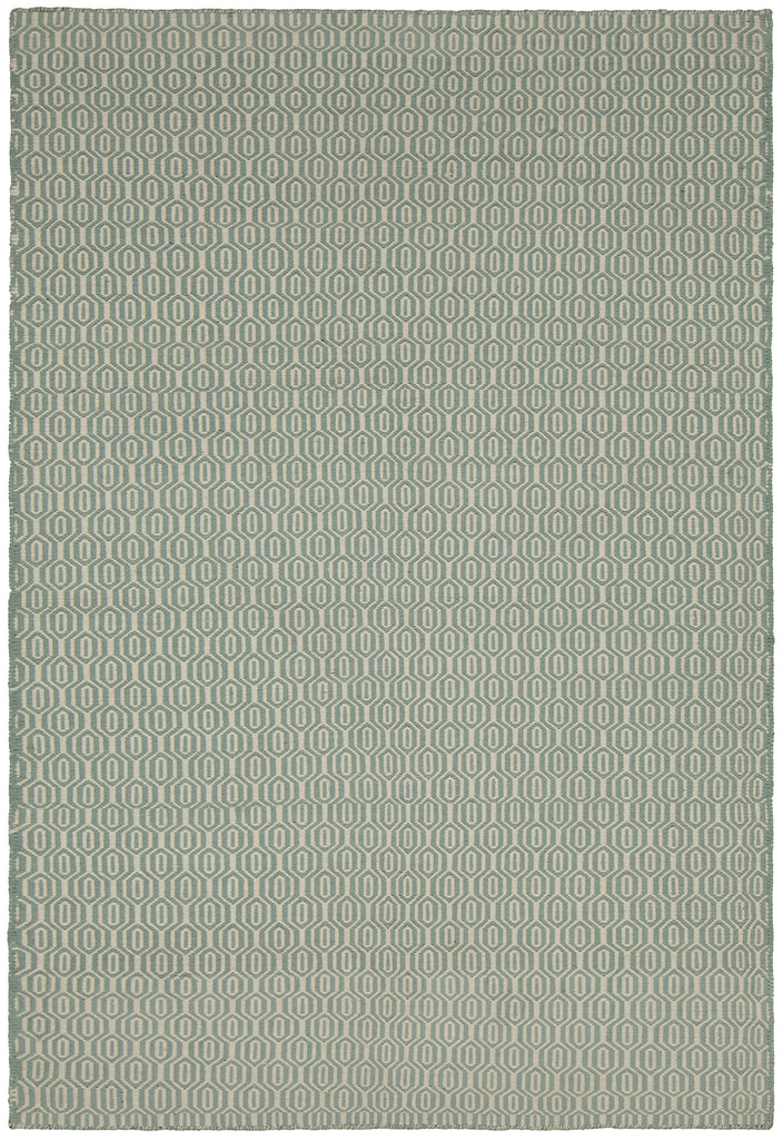 Diva Collection Flatweave Area Rug in Cream & Aqua design by Chandra rugs