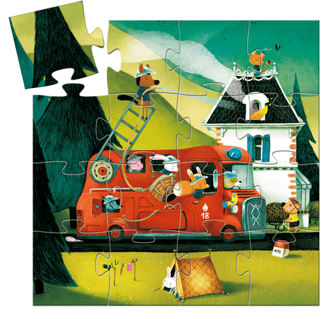 Silhouette Mini Puzzles The Fire Truck design by DJECO
