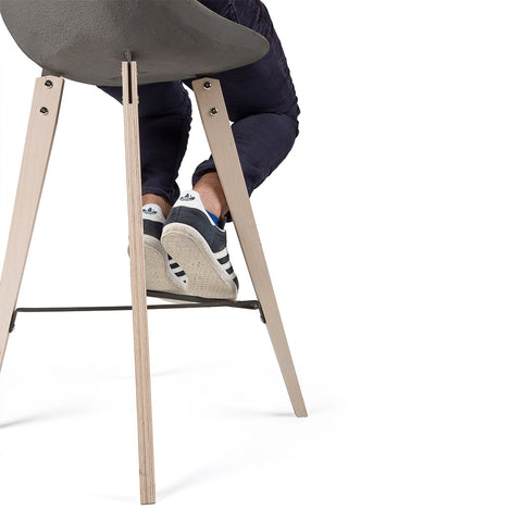 Hauteville - Counter Chair With Plywood Feet by Lyon Béton