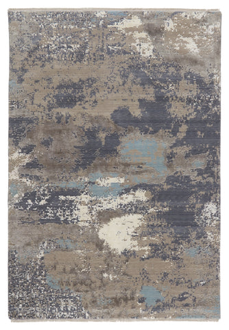 Adriatic Abstract Rug in Gray & Light Blue