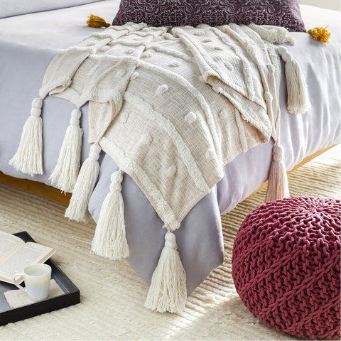 Dallan DLN-1000 Woven Throw in White & Cream by Surya