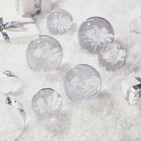 Set of 6 Glass Floral Sculpture Paperweights