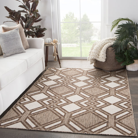 Samba Indoor/ Outdoor Trellis Brown/ Ivory Rug design by Nikki Chu