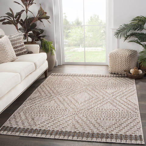 Tirana Indoor/ Outdoor Borders Gray/ Brown Rug design by Nikki Chu