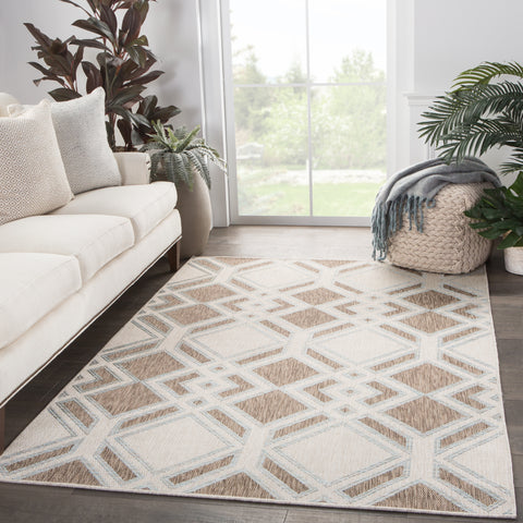 Samba Indoor/ Outdoor Trellis Brown/ Light Blue Rug design by Nikki Chu