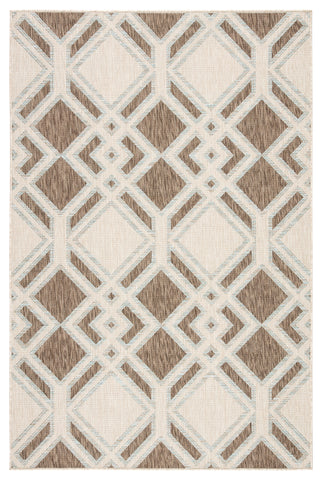 Samba Indoor/ Outdoor Trellis Brown & Light Blue Area Rug