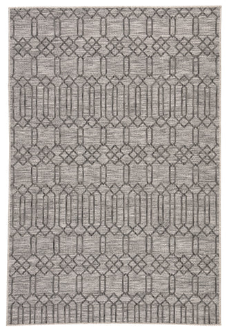 Calcutta Indoor/Outdoor Geometric Gray Area Rug design by Nikki Chu for Jaipur Living