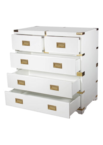 Chiba Campaign Chest in White Lacquer design by Selamat