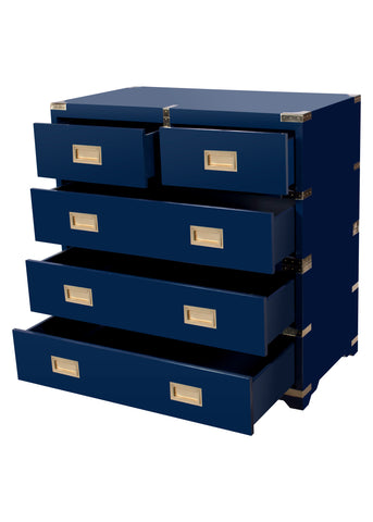 Chiba Campaign Chest in Navy Lacquer design by Selamat