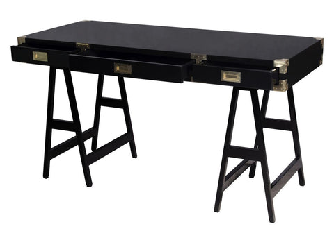 Chiba Study Desk in Black Lacquer design by Selamat