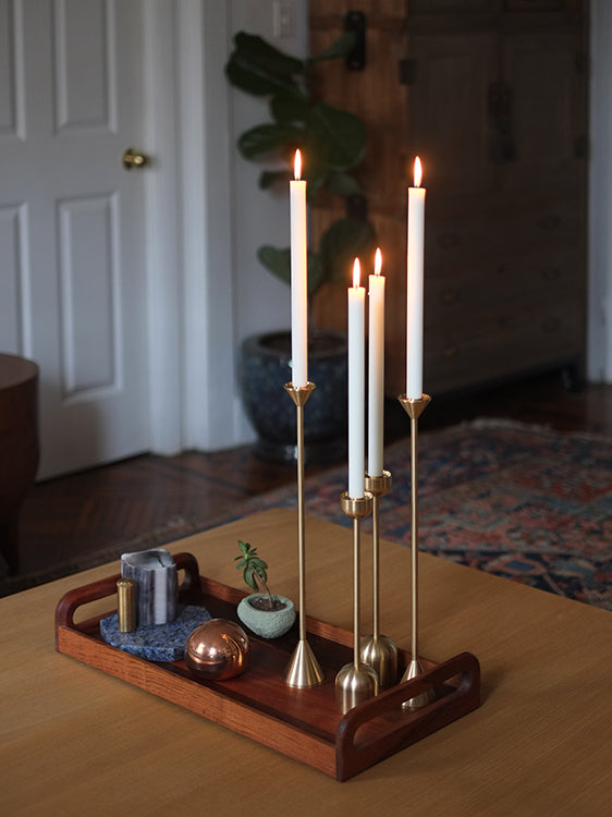Set of 2 Cone Spindle Candle Holders in Various Sizes design by Fort Standard