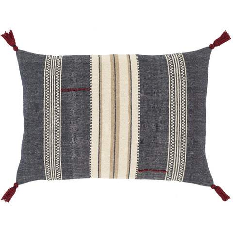 Dashing DSG-002 Hand Woven Pillow in Navy & Ivory by Surya