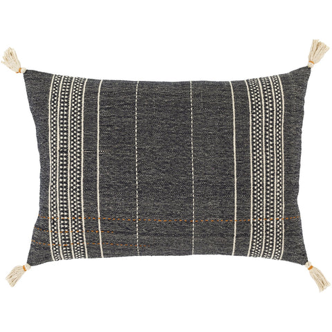 Dashing DSG-004 Hand Woven Pillow in Black & Ivory by Surya