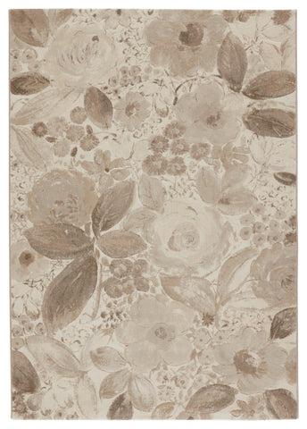 Beatrix Floral Rug in Light Gray & Cream by Lauren Wan by Jaipur Living