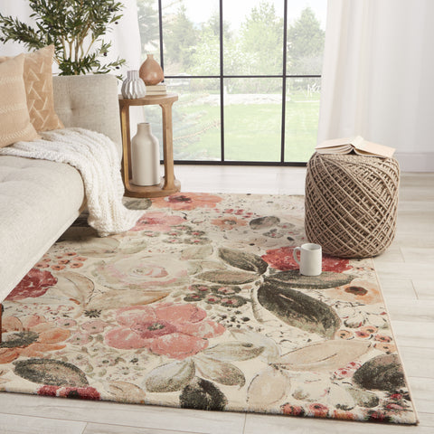 Beatrix Floral Rug in Blush & Cream by Lauren Wan by Jaipur Living