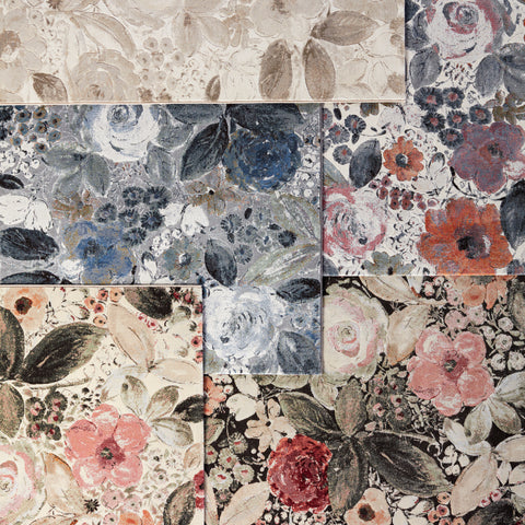 Beatrix Floral Rug in Gray & Blue by Lauren Wan by Jaipur Living