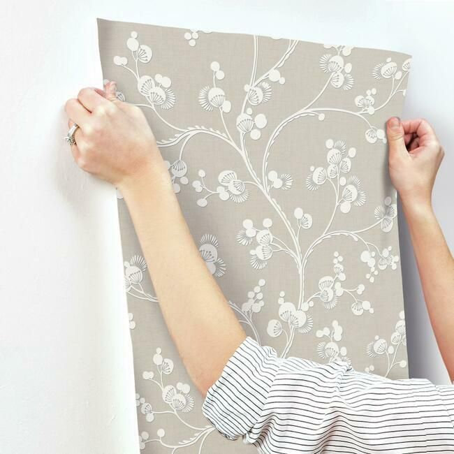 Dahlia Trail Wallpaper in Linen from the Silhouettes Collection by York Wallcoverings