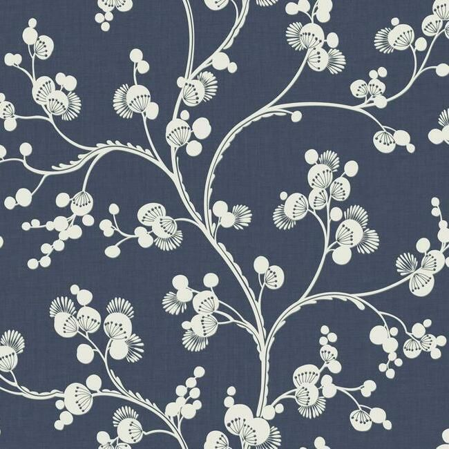 Dahlia Trail Wallpaper in Navy from the Silhouettes Collection by York Wallcoverings