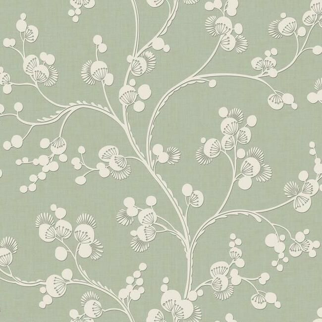 Sample Dahlia Trail Wallpaper in Sage from the Silhouettes Collection by York Wallcoverings