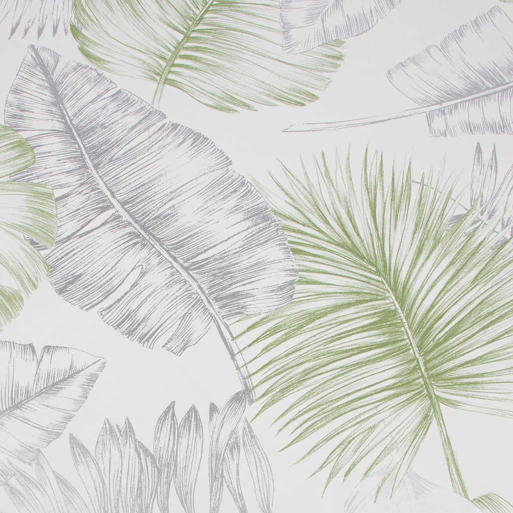 Sample Daintree Wallpaper in Green and Silver from the Capsule Collection by Graham & Brown