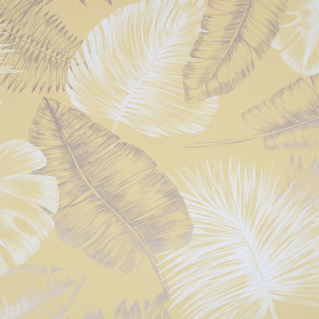 Sample Daintree Wallpaper in Yellow from the Capsule Collection by Graham & Brown