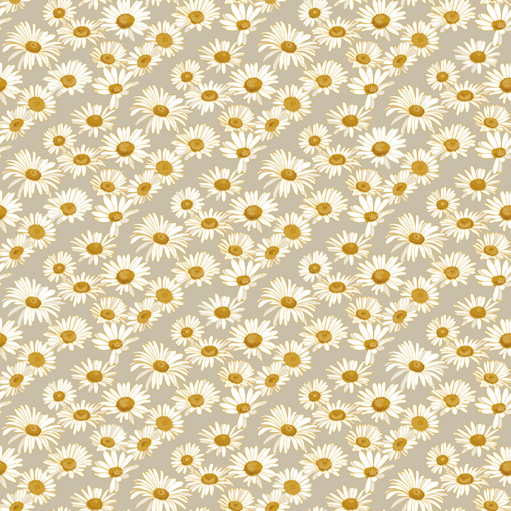 Daisies Self-Adhesive Wallpaper in Greige design by Tempaper
