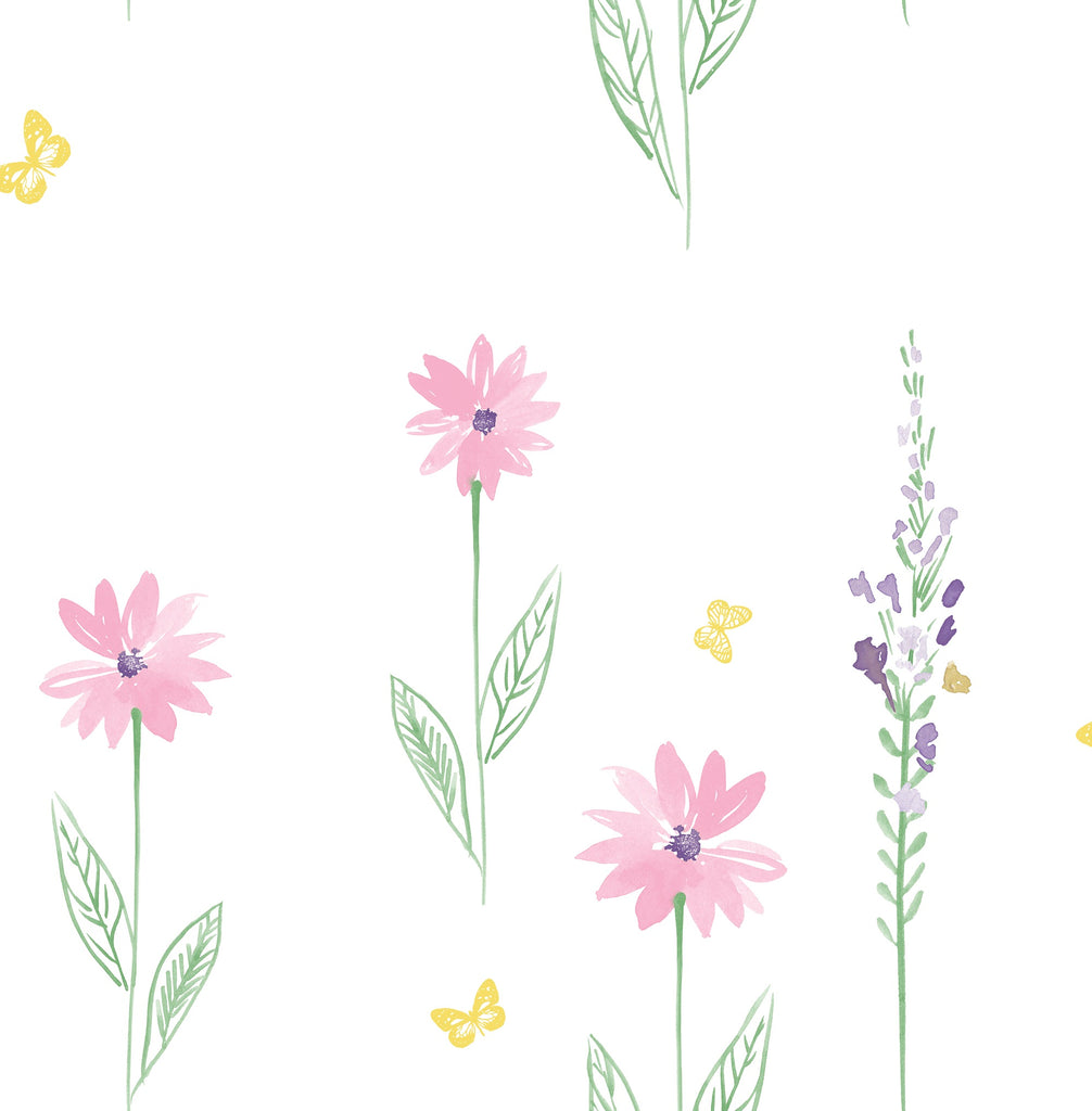 Daisy Field Wallpaper in Pink and Green from the Day Dreamers Collection by Seabrook Wallcoverings