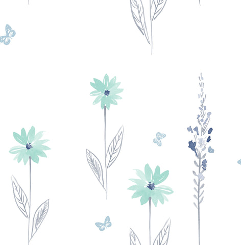 Daisy Field Wallpaper in Teal and Grey from the Day Dreamers Collection by Seabrook Wallcoverings