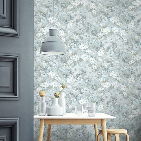 Daisy Wallpaper in Blue, Grey, and White from the French Impressionist Collection by Seabrook Wallcoverings