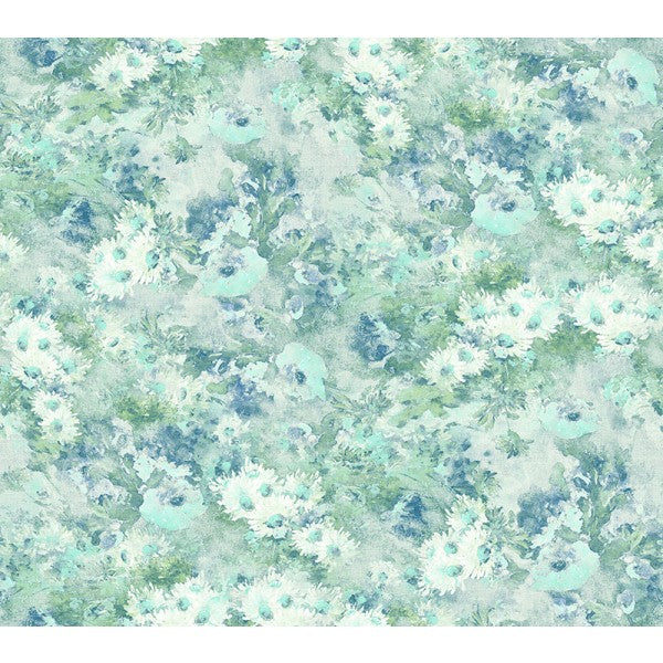 Sample Daisy Wallpaper in Blue, Green, and White from the French Impressionist Collection by Seabrook Wallcoverings