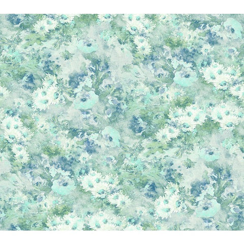 Daisy Wallpaper in Blue, Green, and White from the French Impressionist Collection by Seabrook Wallcoverings