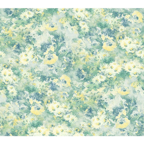 Daisy Wallpaper in Blue, Green, and Yellow from the French Impressionist Collection by Seabrook Wallcoverings