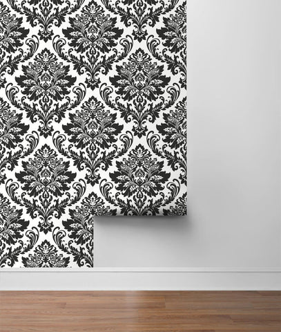 Damask Peel-and-Stick Wallpaper in Black and White by NextWall