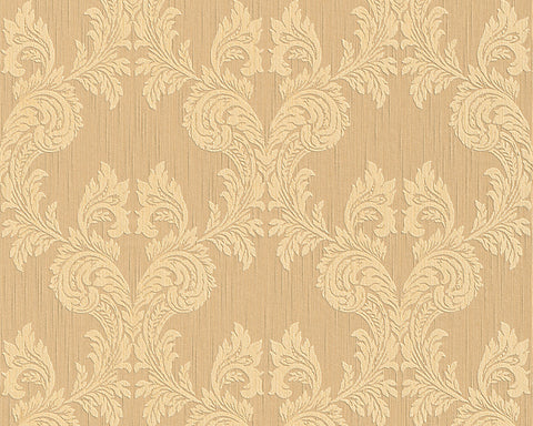 Damask Floral Wallpaper in Beige and Oranges design by BD Wall