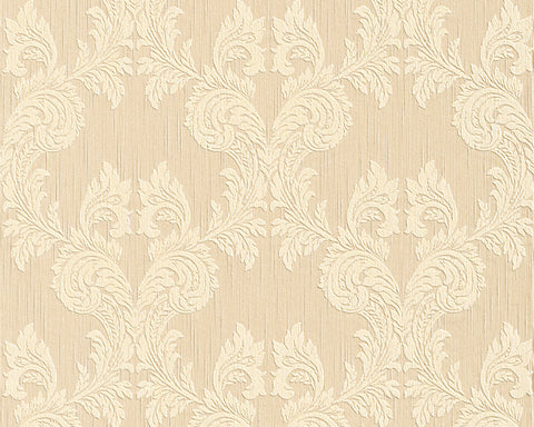 Damask Floral Wallpaper in Beige and Yellows design by BD Wall