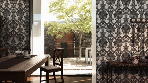 Damask Floral Wallpaper in Black and White design by BD Wall