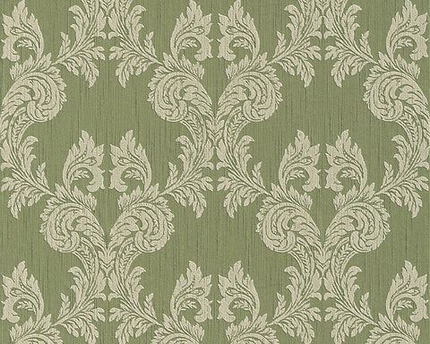 Damask Floral Wallpaper in Green design by BD Wall