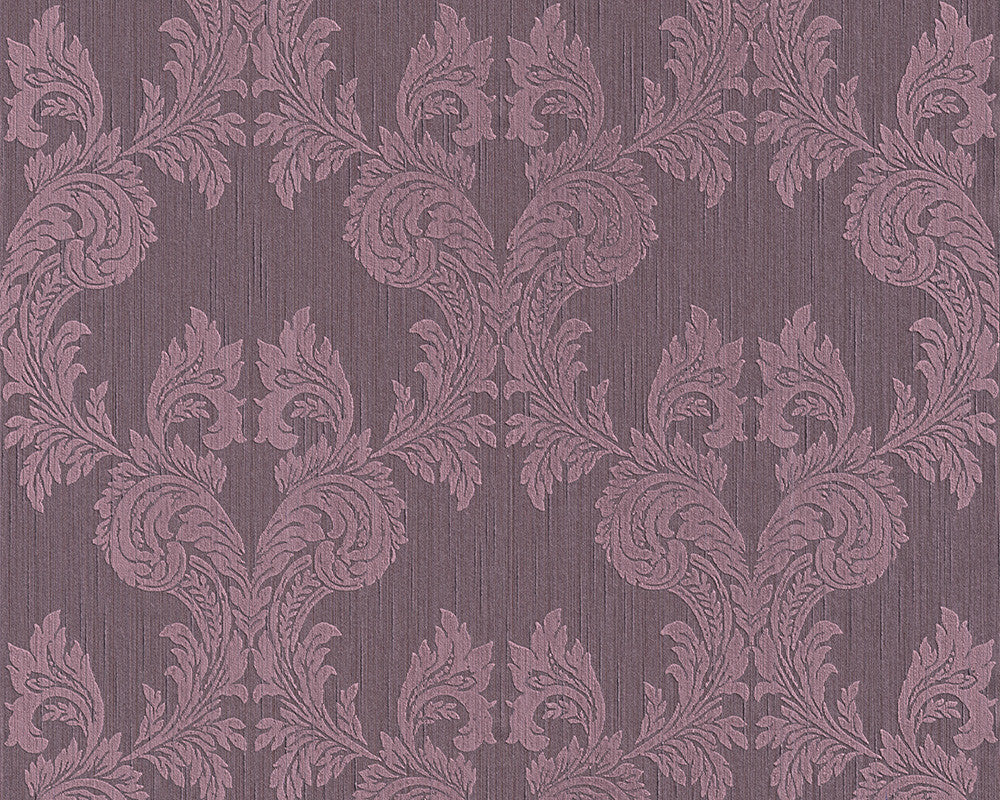 Damask Floral Wallpaper in Purple design by BD Wall