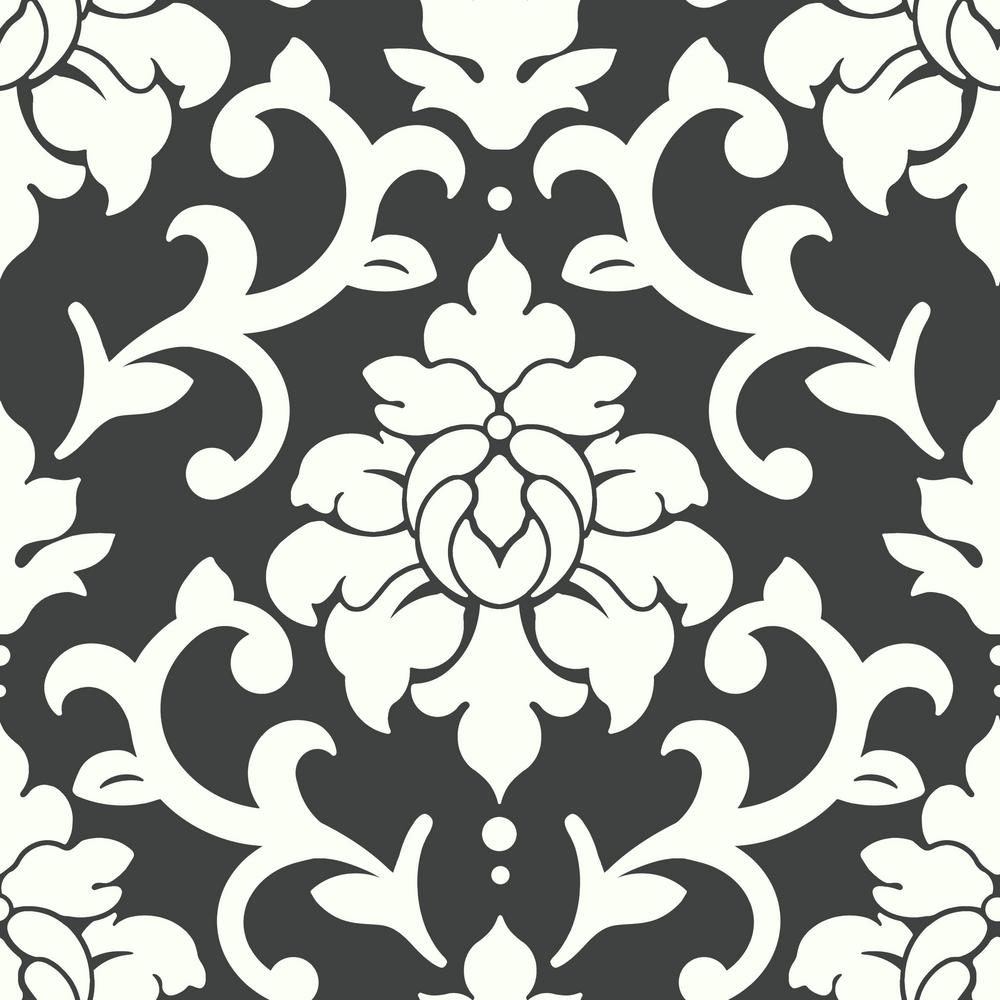 Damask Peel Stick Wallpaper In Black By Roommates For York Wallcover Burke Decor
