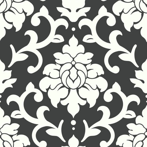 Damask Peel & Stick Wallpaper in Black by RoomMates for York Wallcoverings