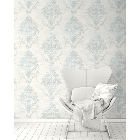 Damask Wallpaper from the French Impressionist Collection by Seabrook Wallcoverings